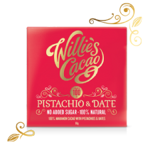 Willie's Cacao Pistachio And Date 100% Dark Chocolate 50g